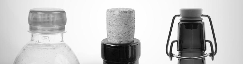 Schraubverschluss, Korken und Bügelflaschenverschluss